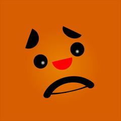Sad face with black eyes. Vector illustration