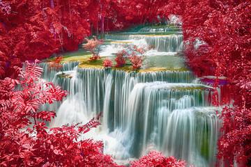 Landscape of Huay Mae Kamin Waterfall, beautiful waterfall in deep forest at Kanchanaburi province, Thailand