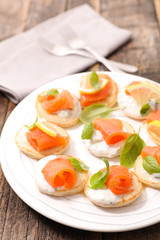 toast with cream and salmon, buffet food