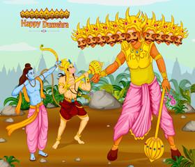 Lord Rama killing Ravana during Dussehra festival of India