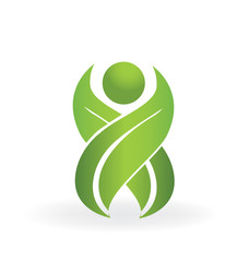 Healthy nature leafs people logo health spa vector symbol