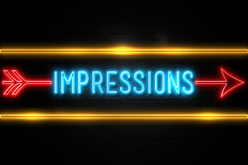 Impressions  - fluorescent Neon Sign on brickwall Front view
