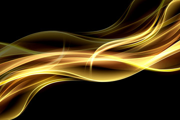 Wall Mural - Abstract  fire background flowing effect lighting. Gold blurred color waves design. Glowing neon for your creative projects.