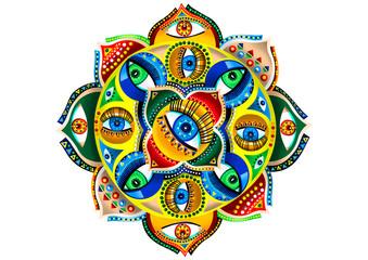 Colorful Mandala Illustration with Eye Details
