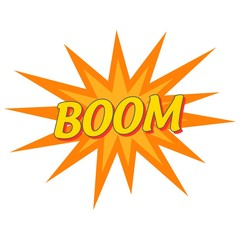 BOOM pop art banner Wording Sound Effect for Comic Speech Bubble