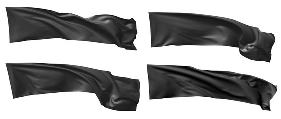 Long black flag waving in wind set