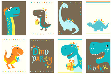 Collection of birthday banners with cute dinosauros