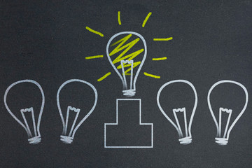 Concepts of idea with light bulb on blackboard
