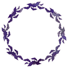 Round mosaic frame with silhouettes of flying bats. Original background for greeting cards, invitations, prints. Vector clip art.