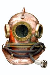 Metal helmet of the diver.