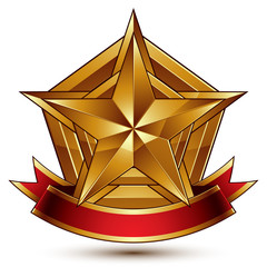 3d golden heraldic blazon with glossy pentagonal star, best for web and graphic design, clear EPS 8 vector. Decorative coat of arms with red wavy ribbon, defense symbol.