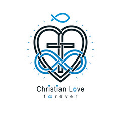Everlasting Christian Love and True Belief in God vector creative symbol design, combined with infinity endless loop and Christian Cross, vector logo or sign.
