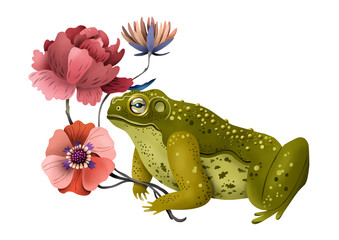 Toad with Bunch of Flowers