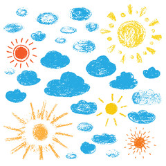 Hand drawn sun and clouds. Vector illustration on white background.