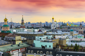 Cityscape view of the city Moscow at sunset with popular historical places and architectural buildings scenery colorful sky