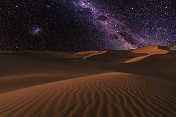Tuinposter Zandwoestijn Amazing views of the Sahara desert under the night starry sky.