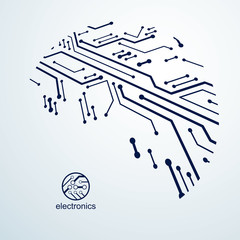 Futuristic cybernetic scheme, vector motherboard illustration. Digital element, circuit board. Technology innovation abstract background