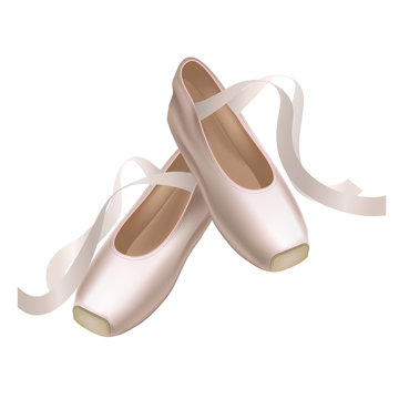 Realistic Detailed Ballet Pointe Shoes on a White Background. Vector