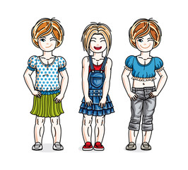 Pretty little girls standing wearing fashionable casual clothes. Vector set of beautiful kids illustrations.