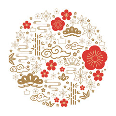 Japanese icon vector. Red and gold traditional symbol in circle form for New year celebration such as cherry blossom, bush, cloud, flower, bamboo, wave.