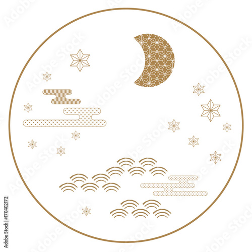 Japanese Icon Vector Gold Symbol Background Such As Moon Star