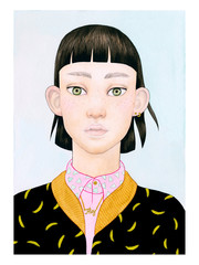Portrait of girl in patterned top