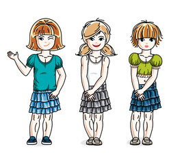 Different cute little girls standing wearing casual clothes. Vector set of beautiful kids illustrations. Childhood and family lifestyle clip art.