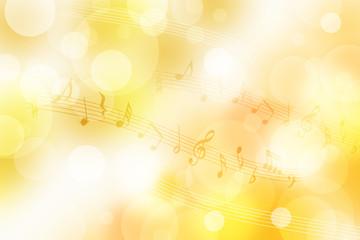 音符と金色の背景