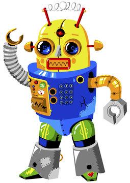 Vintage Robot Illustration with Retro Colors