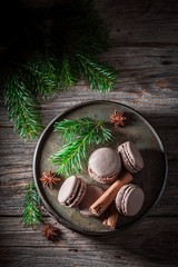 Delicious macaroons with cinnamon and chocolate for Christmas