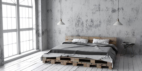 A industrial style bedroom with recycled pallet bed. 3D render.