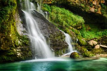 Magic waterfall in Julian Alps