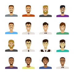 Avatar set vector illustration. Beautiful young mens portrait with different hair style isolated on white background