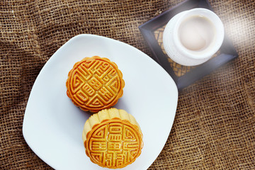 Durian mixed with lotus seeds custard inside moon cake during mid autumn festival.