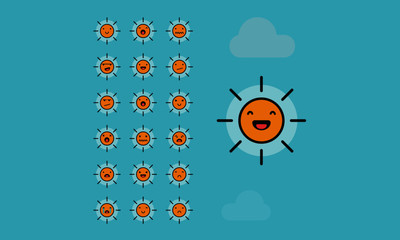 Set of Cute Sun Emoji Line Icons In Different Expressions