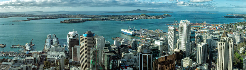 Auckland New Zealand aerial view panorama