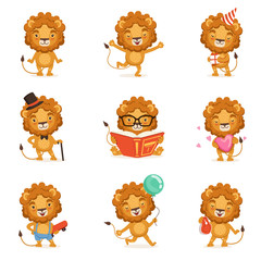 Cute lion character character doing different activities colorful vector Illustrations