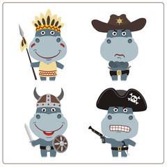 Set isolated hippo in cartoon style for design children holiday and birthday. Funny hippopotamus in costume of viking, american indian, cowboy and pirate.
