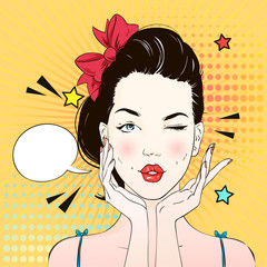 Pop art surprised woman face with kiss mouth. Comic woman with speech bubble. Vector illustration.
