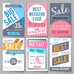 Sale posters vector template with discount and save money offers for email and newsletter design