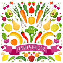 Vector illustration of fruits and vegetables