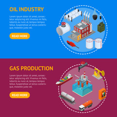 Oil Industry and Energy Resource Banner Horizontal Set Isometric View. Vector
