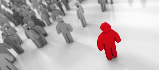 Menschenmenge - Konzept Rassismus, Außenseiter, Gesellschaft