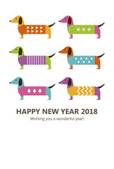 New Years Card Of Colorful Dogs Vertical