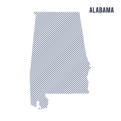 Vector abstract hatched map of State of Alabama with oblique lines isolated on a white background.