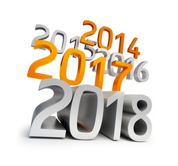 happy new year 2018. 3d Illustrations on a white background