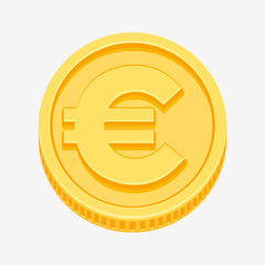 Euro sign on gold coin