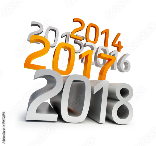 Happy new year 2018 3d illustrations on a white backgroundfotolia happy new year 2018 3d illustrations on a white background voltagebd Gallery