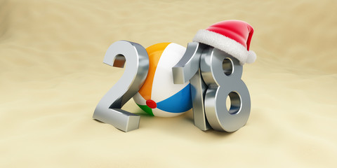 New Year 2018 on the beach ball santa hat on a white background 3D illustration, 3D rendering