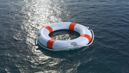 Lifebuoy in sea. 3d render